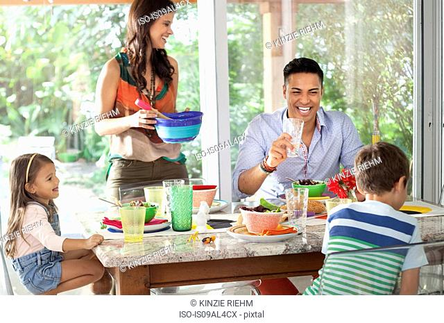 Family at dining table