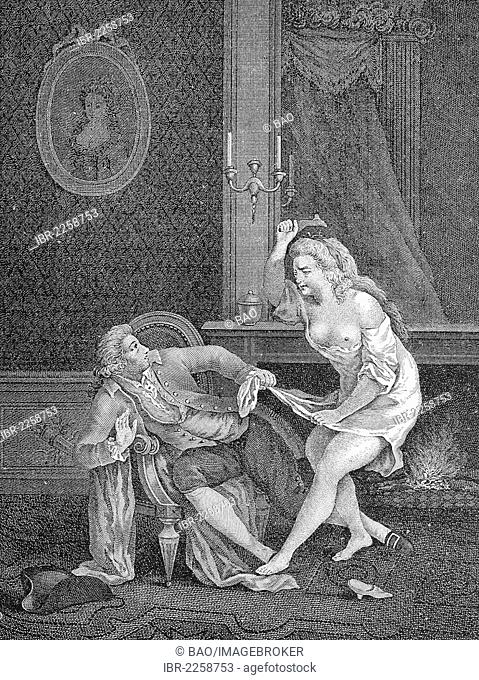 Couple having an argument, gallant French engraving by Nerbe, 1810