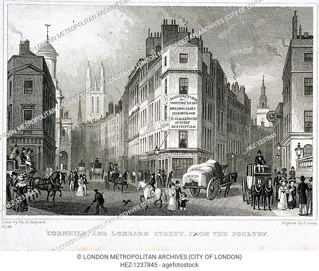 View of Cornhill and Lombard Street, London, 1821; from Poultry, looking east, with shop sign on central building, figures in street and horses