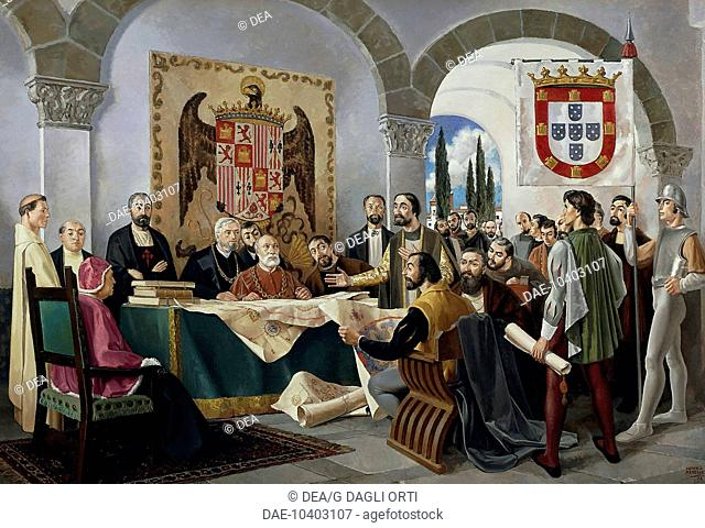 Signing of the Treaty of Tordesillas between Spain and Portugal, June 7, 1494. Spain, 15th century.  Lisbon, Museu De Marinha (Navy Museum)