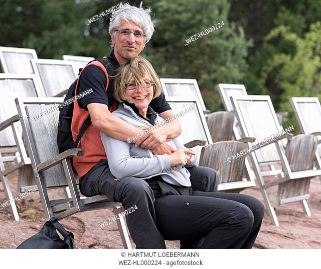 Italy, South Tyrol, Hafling, Mature couple at the observation point Knottnkino