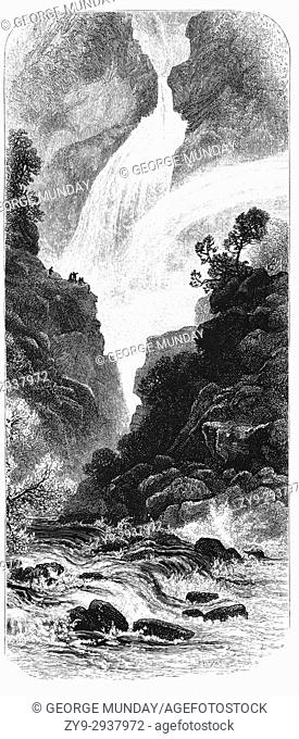 1870: The Fall of Foyers with a fall of 165 feet, is a waterfall located on the lower portion of the River Foyers, which feeds Loch Ness, in the Highland