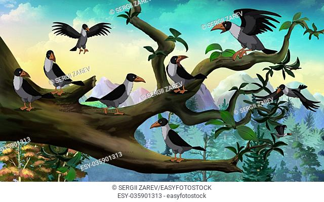 Hooded Crows on the branch. Digital painting full color illustration