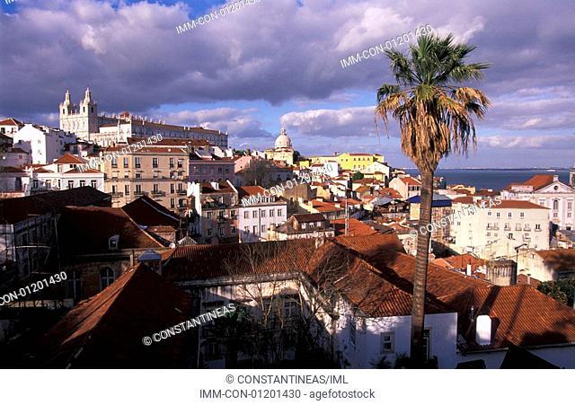 View of Alfama from Largo das Portas do Sol , Lisbon, Portugal, Europe
