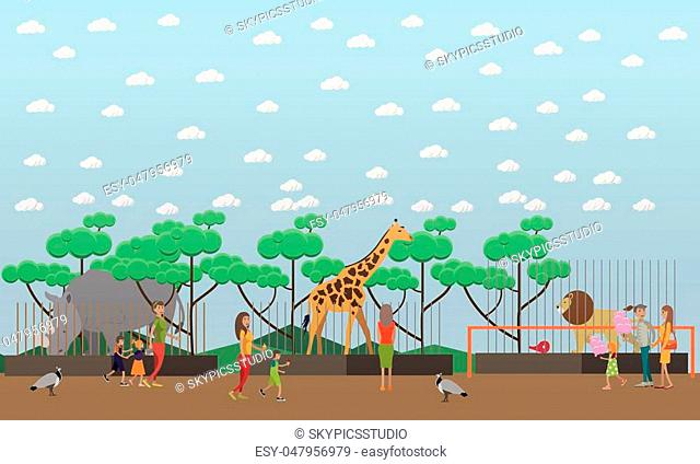 Zoo concept vector illustration. Visitors adults and kids seeing wild exotic animals in cages rhinoceros, giraffe and lion