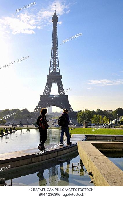 Gardens of the Tocadero. Eiffel Tower. Paris, France