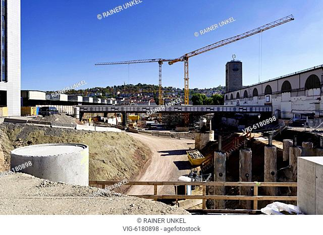 DEU , GERMANY : The construction site of the new main station of Stuttgart / Stuttgart21 , 04.10.2018 - Stuttgart, Baden-Wuerttemberg, Germany, 04/10/2018
