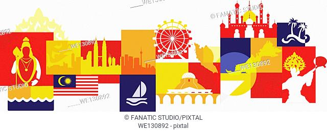 Illustrative collage of Malaysia over white background