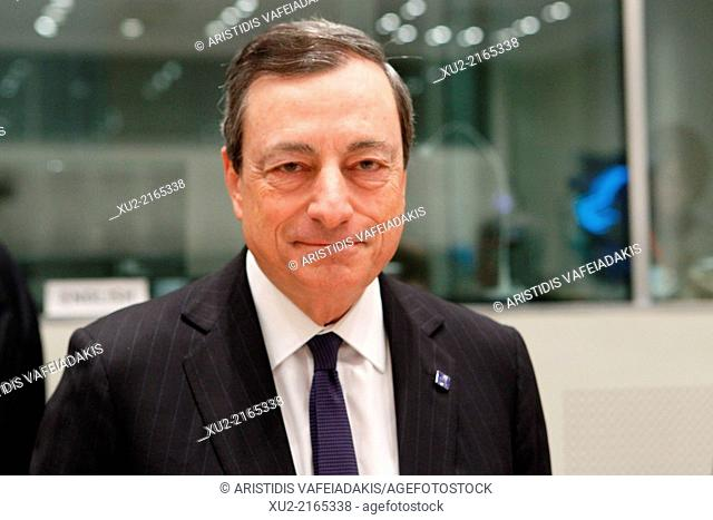 MARIO DRAGHI (President European Central Bank) attends an Informal Meeting of Ministers for Economic and Financial Affairs at the Zappeion Hall in Athens