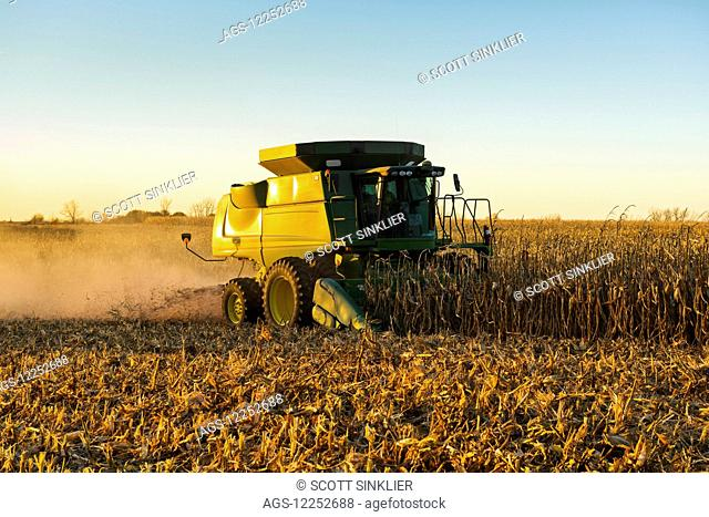 A farmer harvests yellow grain corn with his John Deere combine at dusk in Southern Iowa; Iowa, United States of America
