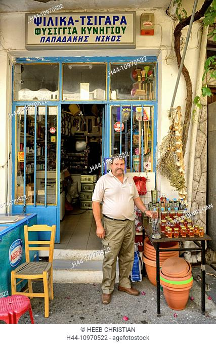 Europe, Greece, Greek, Crete, Mediterranean, island, Axos, restaurant, landlord, man