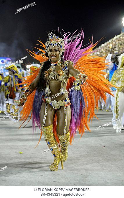 Samba dancer Raíssa Oliveira, Queen of the samba group, Rainha da Bateria, parade of the samba school Beija Flor de Nilópolis, Sambodromo, Rio de Janeiro