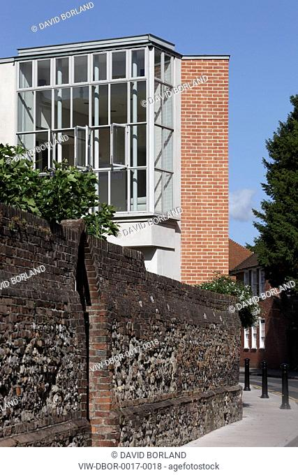 New Wing Pallant House Gallery, Long & Kentish / Colin St John Wilson, Chichester UK, 2006, South facade seen from East Pallant