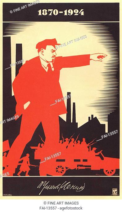 Ulyanov (Lenin). 1870-1924 (Poster). Strakhov-Braslavsky, Adolf Iosifovich (1896-1979). Colour lithograph. Soviet political agitation art. 1924