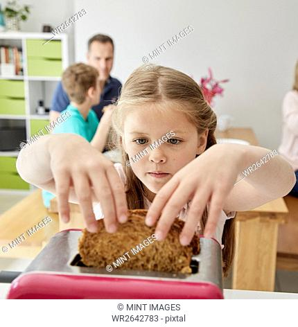 A family making breakfast. A child taking a slice of bread out of the toaster