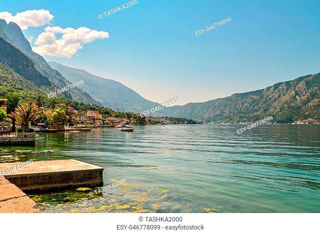 View of Bay of Kotor near Dobrota village in summer day, Montenegro