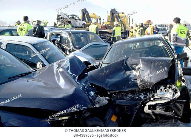 Demolished cars, traffic accident on autobahn, pile-up on road with black ice, Ohlstadt, Upper Bavaria, Bavaria, Germany