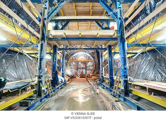 Baustelle eines U-Bahn-Tunnels