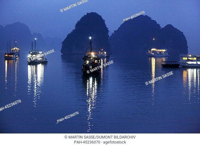 Junks at Ha Long Bay in the Gulf on Tonkin, Vietnam