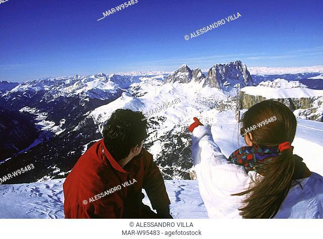 europe, italy, trentino, alps, dolomites, val di fassa, sassolungo and sella group