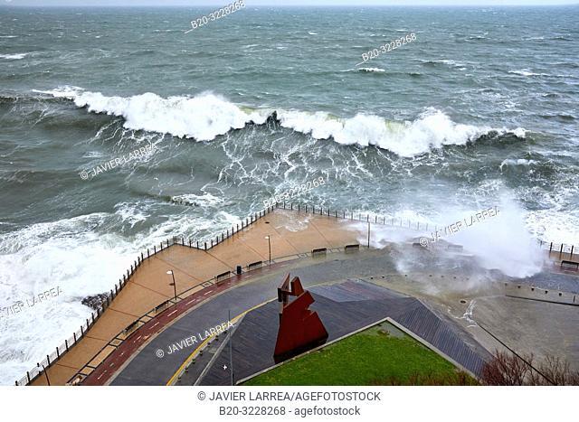 """""""Construcción Vacia"""" by Jorge Oteiza, Tempest in the Cantabrian Sea, Waves and Wind, Explosive Cyclogenesis, Paseo Nuevo, Donostia, San Sebastian, Gipuzkoa"""