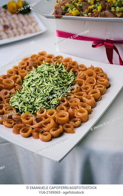 Appetizers during the wedding reception