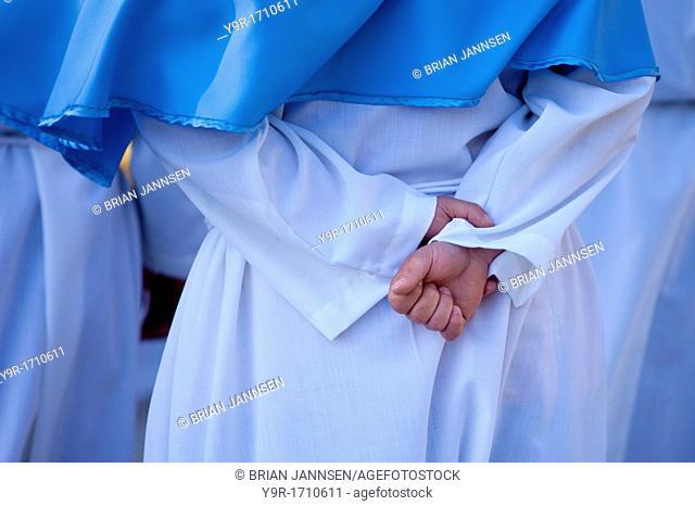 Catholic religious procession at Abbazia di Sant Eutizio in Piedivalle, Umbria Italy