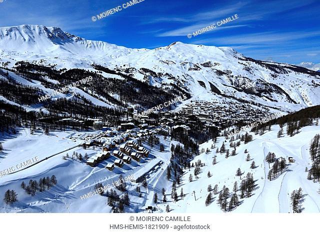 France, Hautes Alpes, Vars, Les Claux ski resort (aerial view)