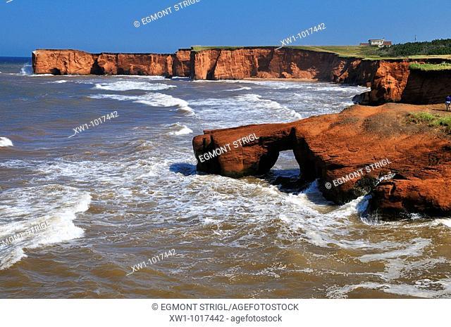 red cliffs at La Belle Anse, Ile du Cap aux Meules, Iles de la Madeleine, Madeleine Islands, Quebec Maritime, Canada, North America