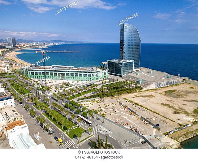 Hotel W and beach of Barcelona. Barcelona, Spain