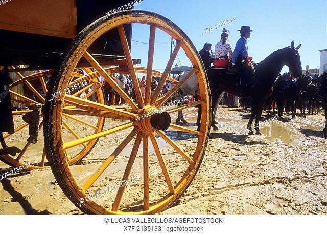 El Rocío Romería pilgrimage ,`Romeros'Pilgrims at El Rocio, Almonte, Huelva province, Andalucia, Spain,