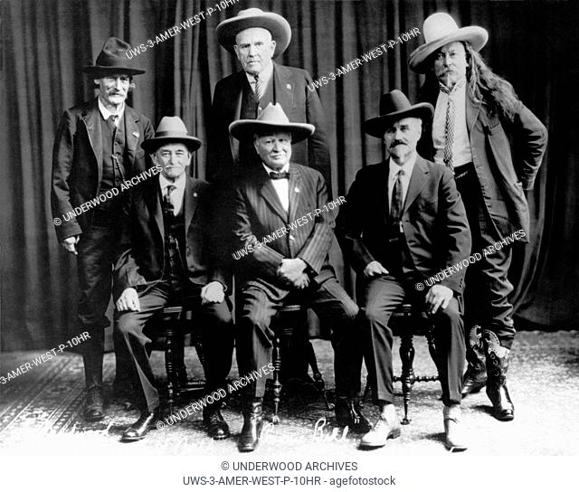 Norfolk, Nebraska: June 16, 1927.Famous Frontiersmen and Scouts: Top Row, L-R : Richard Clarke, aka Deadwood Dick, William Frank ÒDocÓ Carver, aka Evil Spirit