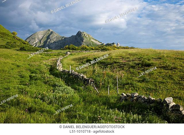 General view of mountains and meadows on Somiedo Natural park, Asturias