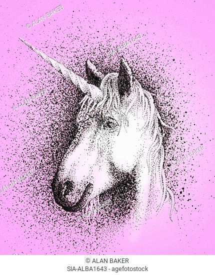 Portrait of unicorn on pink background