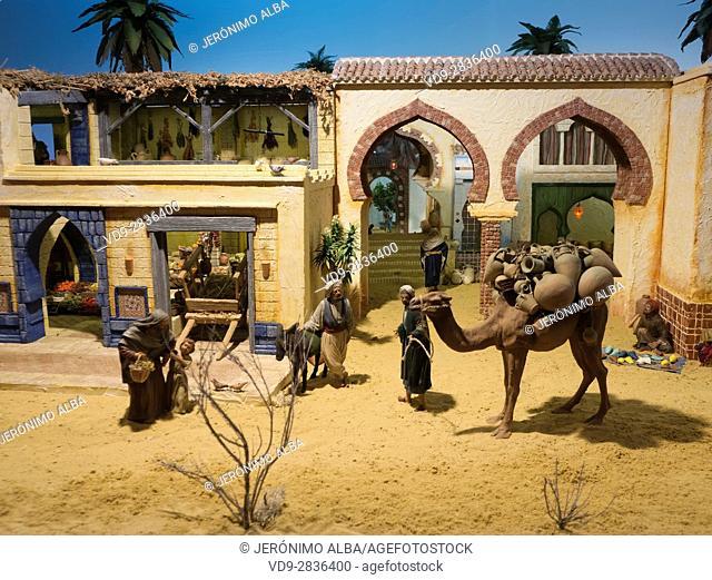 Christmas, Nativity scene, Religion. Cathedral church, Costa del Sol, Malaga. Andalusia southern Spain. Europe
