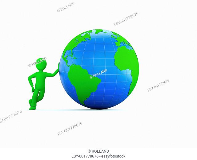 3d character with green and blue globe