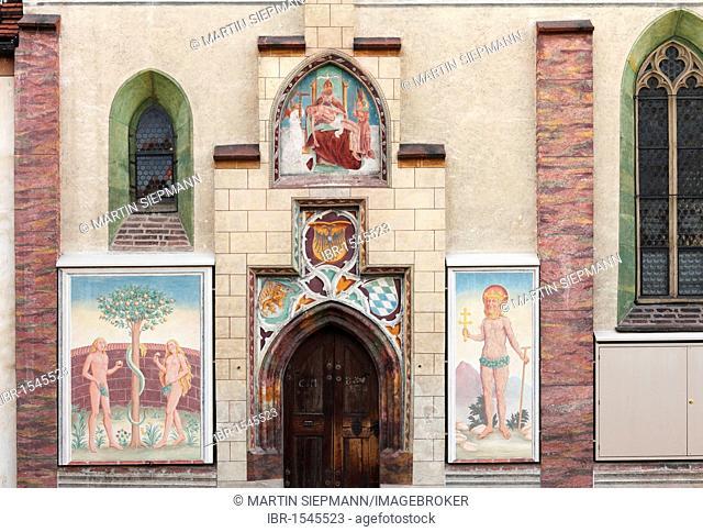 Schloss Blutenburg Castle, exterior chapel frescoes, Munich-Obermenzing, Munich, Upper Bavaria, Bavaria, Germany, Europe
