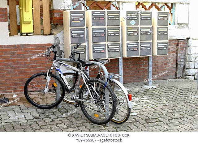 Bicycles and mailboxes, Lacanau-Océan. Gironde, Aquitaine, France