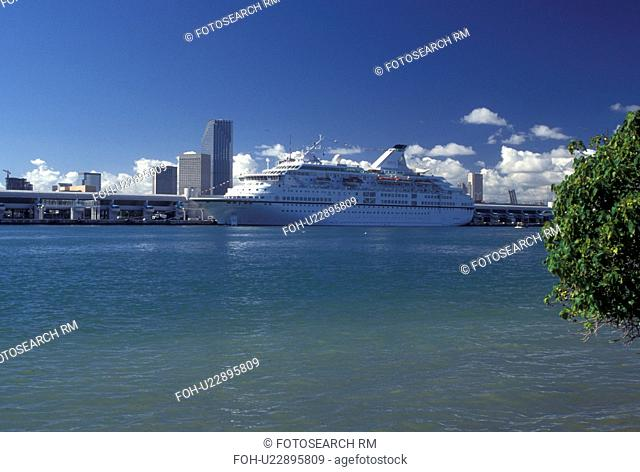 Miami, FL, cruise ship, Florida, Atlantic Ocean, Cruise ship docked at the Port of Miami Biscayne Bay in Miami