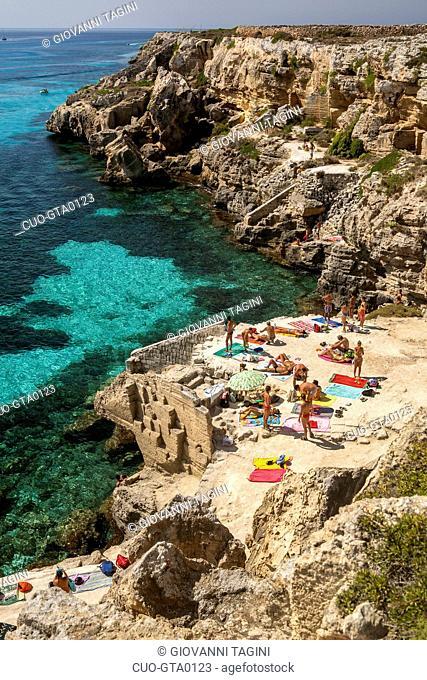 Cala Rossa Bay, Favignana island, Aegadian Islands, Sicily, Italy, Europe
