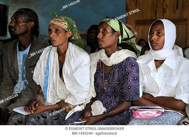 Adult education in a school, Rift Valley, Oromia, Ethiopia, Africa