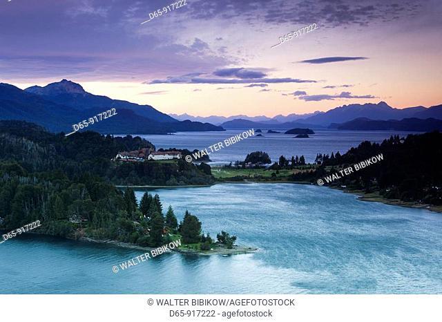 Hotel Llao Llao and Lake Nahuel Huapi at dusk, Llao Llao, Lake District, Rio Negro Province, Argentina