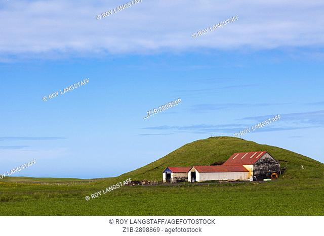Outbuildings on a farm by Highway 218 in Iceland
