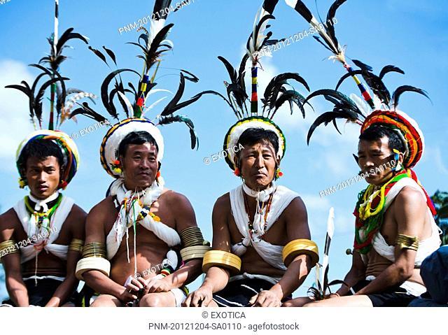 Naga tribal men in traditional outfit, Hornbill Festival, Kohima, Nagaland, India