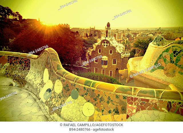 The Park Güell, public park system composed of gardens and architectonic elements located on Carmel Hill, in Barcelona, Catalonia Spain