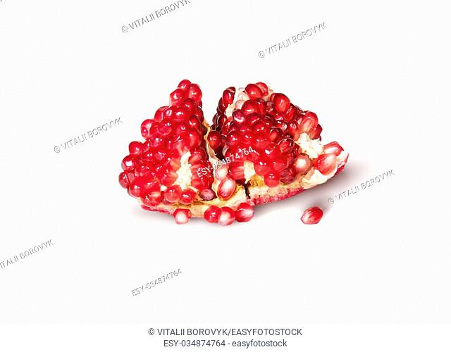 Single Of Ripe Juicy Pomegranate With Berries Isolated On White Background