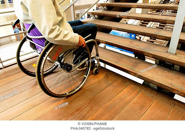 Wheelchair bound man denied access by being unable to use the flight of stairs