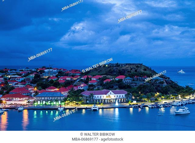 French West Indies, St-Barthelemy, Gustavia, Gustavia Harbor, elevated view from Fort Gustave, dawn