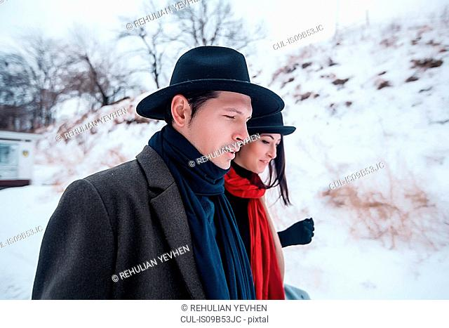 Couple on winter vacation, Odessa, Ukraine