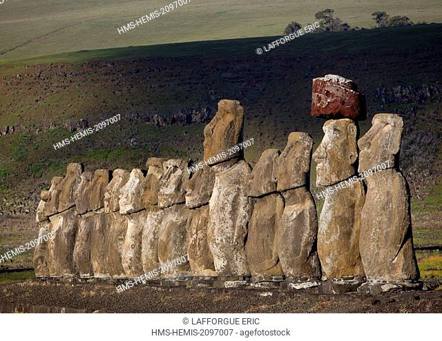 Chile, Easter Island (Rapa Nui), site listed as World Heritage by UNESCO, Ahu Tongariki is the largest ahu, its moai were toppled during the island's civil wars...
